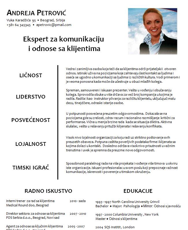 curriculum vitae na srpskom jeziku